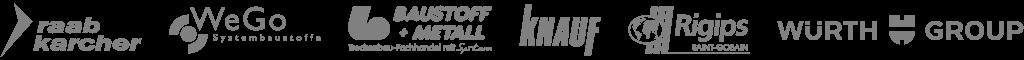 Logos Raab Karcher, WeGo Systembaustoffe, Baustoff + Metall, Knauf, Rigips, Würth Group